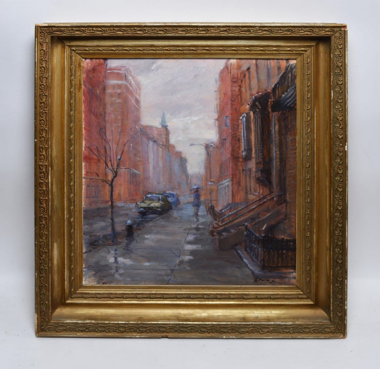Vintage impressionist view of New York City by Anthony Springer  (1928 - 1995).  Oil on canvas, circa 1950.  Signed.  Displayed in a giltwood frame.  Image, 16