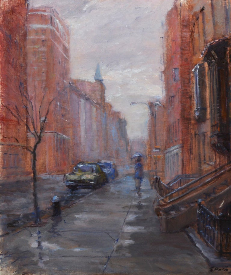 Rainy Day in the Village, Vintage Painting of New York City, Anthony Springer For Sale 3