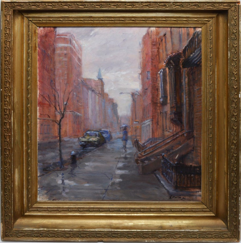 Rainy Day in the Village, Vintage Painting of New York City, Anthony Springer - Brown Landscape Painting by Anthony Springer