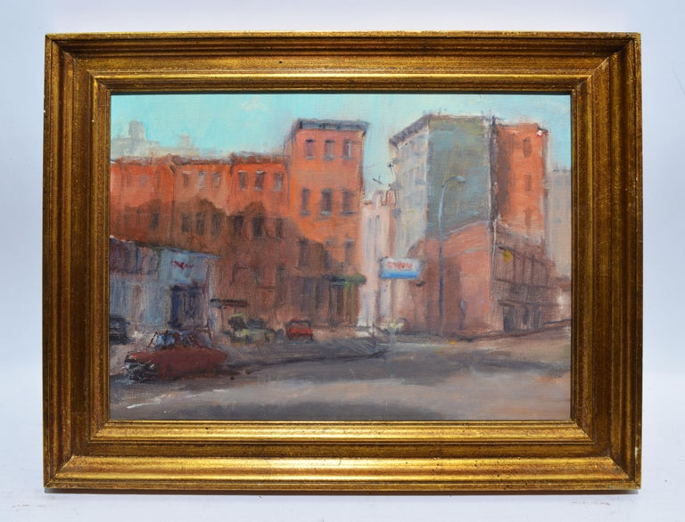 Vintage impressionist view of New York City by Anthony Springer  (1928 - 1995).  Oil on canvas, circa 1950.  Unsigned.  Displayed in a period giltwood frame.  Image, 16