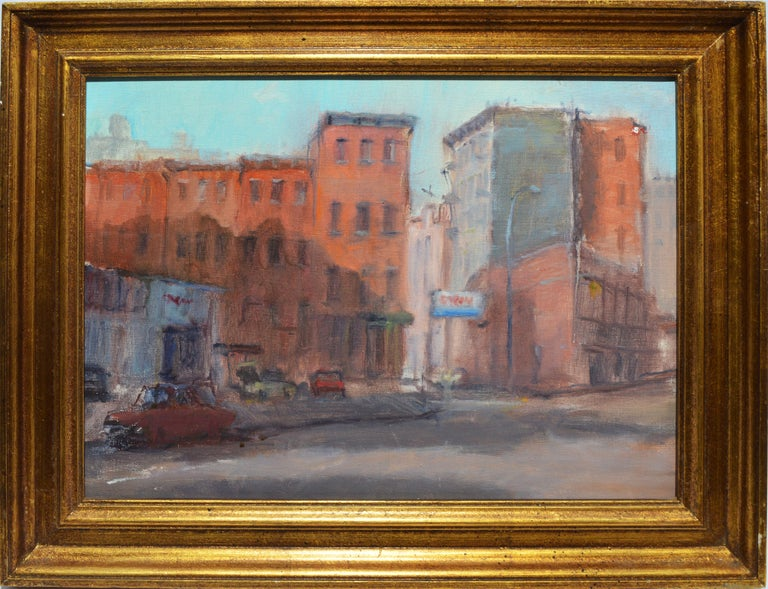 View of Lower Manhattan, Vintage Oil Painting of New York City, Anthony Springer - Brown Landscape Painting by Anthony Springer