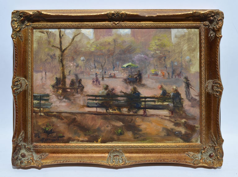 Vintage impressionist view of New York City by Anthony Springer  (1928 - 1995).  Oil on canvas, circa 1950.  Signed lower left.  Displayed in a period giltwood frame.  Image, 16