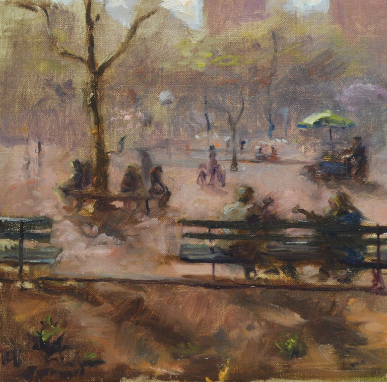 Washington Square Park, Vintage Oil Painting of New York City, Anthony Springer For Sale 4