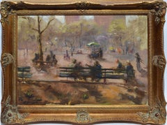 Washington Square Park, Vintage Oil Painting of New York City, Anthony Springer