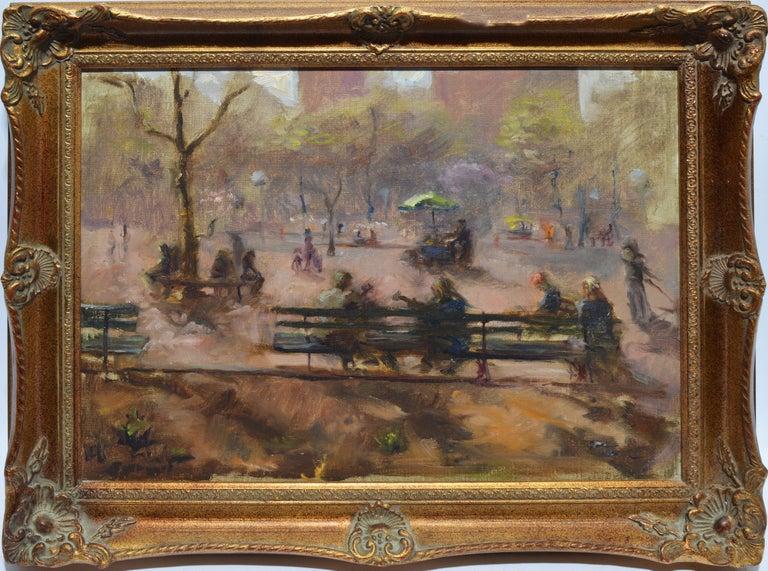 Washington Square Park, Vintage Oil Painting of New York City, Anthony Springer - Brown Landscape Painting by Anthony Springer