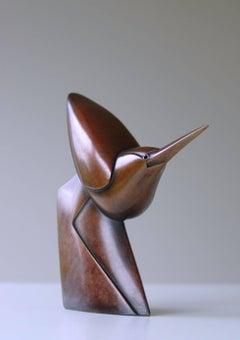 """Little Walking Heron"" Contemporary Bronze Sculpture Portrait of a Herron, Bird"