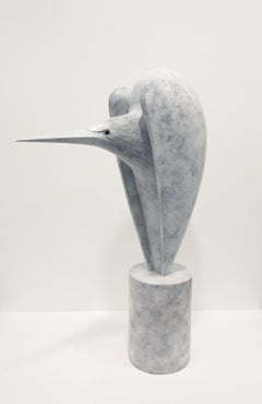 """Praedari"" Contemporary Bronze Sculpture Portrait of a Praedari, Bird"