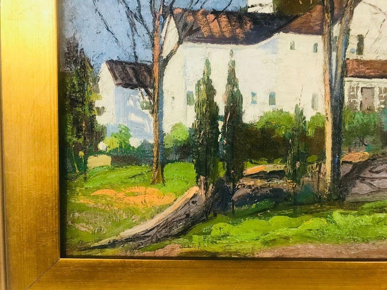 Striking oil on board by well regarded 20th century artist Anthony Thieme (1888-1954). This painting of a large white house shows skillful play of light and color and it is done beautifully.  Thieme was born in Holland and came to the U.S. in the