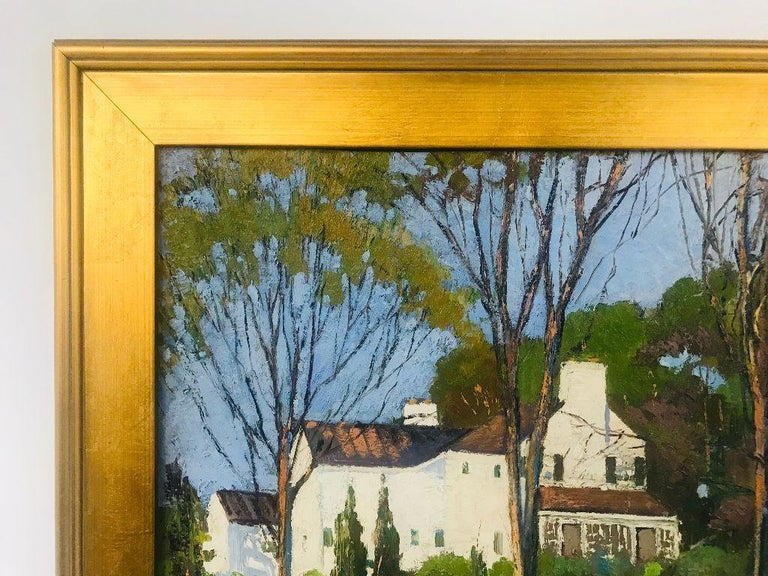 American Anthony Thieme Rockport Artist Oil on Board of White House For Sale