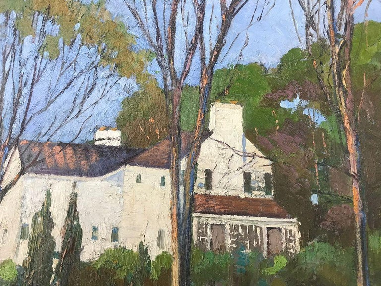 Anthony Thieme Rockport Artist Oil on Board of White House In Good Condition For Sale In Plymouth, MA