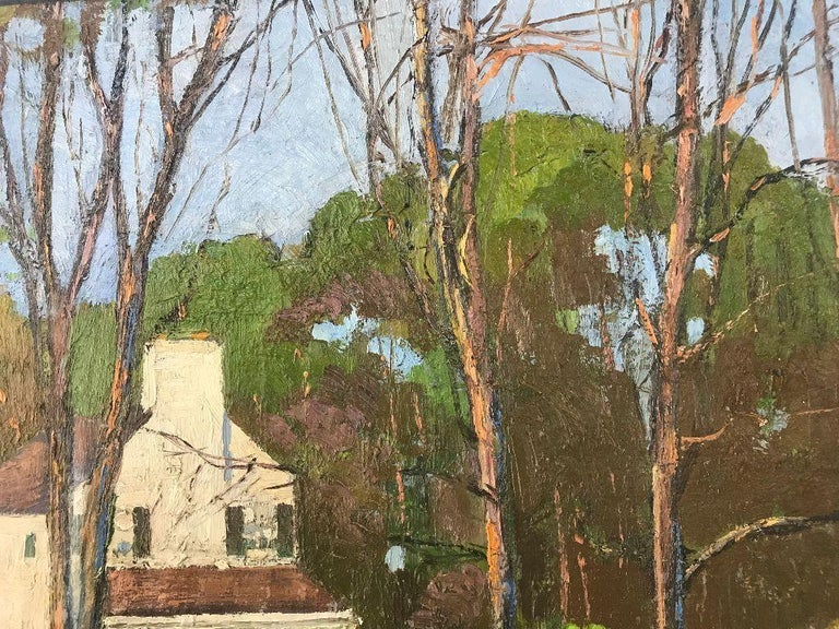 20th Century Anthony Thieme Rockport Artist Oil on Board of White House For Sale