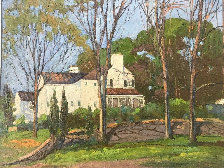 Composition Anthony Thieme Rockport Artist Oil on Board of White House For Sale