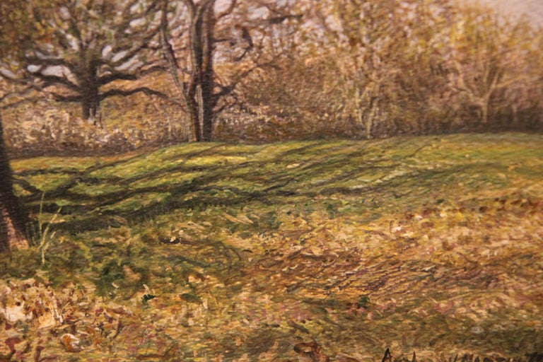 Naturalistic Field with Trees Landscape  - Brown Figurative Painting by Anthony V. Martin