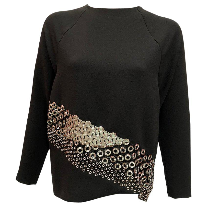 Anthony Vaccarello Black Long Sleeves Crepe Blouse