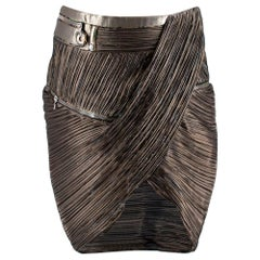 Anthony Vaccarello Gold Silk blend Pleated Skirt US6