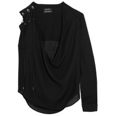 Anthony Vaccarello Lace Up Wool Blend Top
