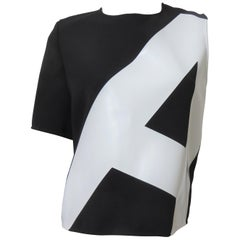 Anthony Vaccarello New One Sleeve Color Block Top with Applique