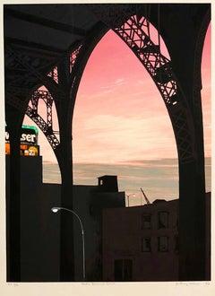 Large Modernist Silkscreen Screenprint 'Under Riverside Drive' NYC WPA Artist