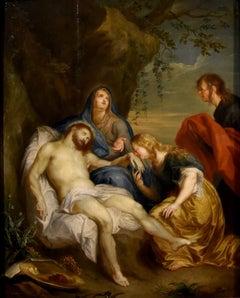 Christ Van Dyck Paint Oil on table 17th Century Flemish Old master Religious Art