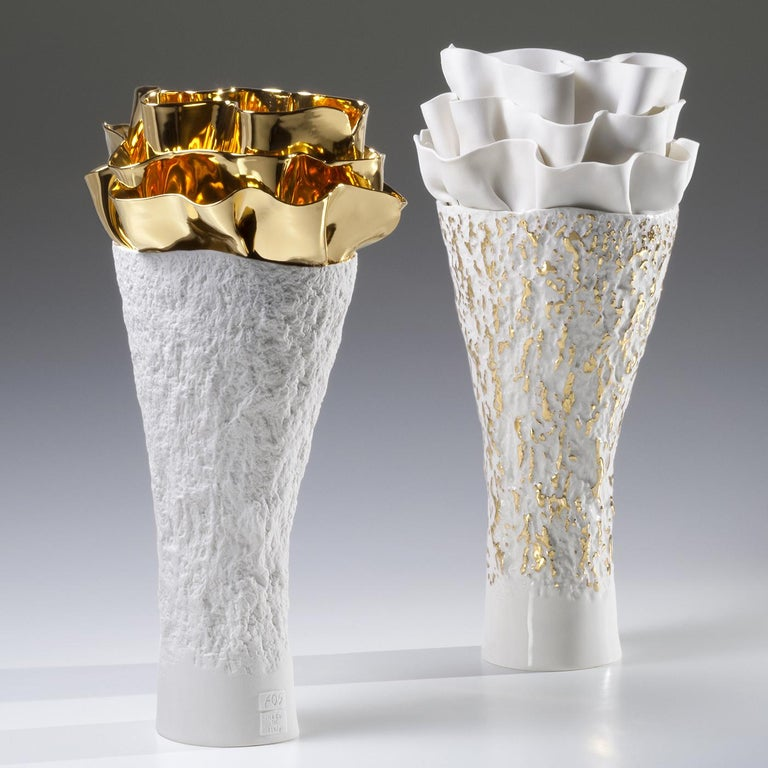 Italian Anthozoa Gold Seaweeds Vase by Fos Ceramiche For Sale
