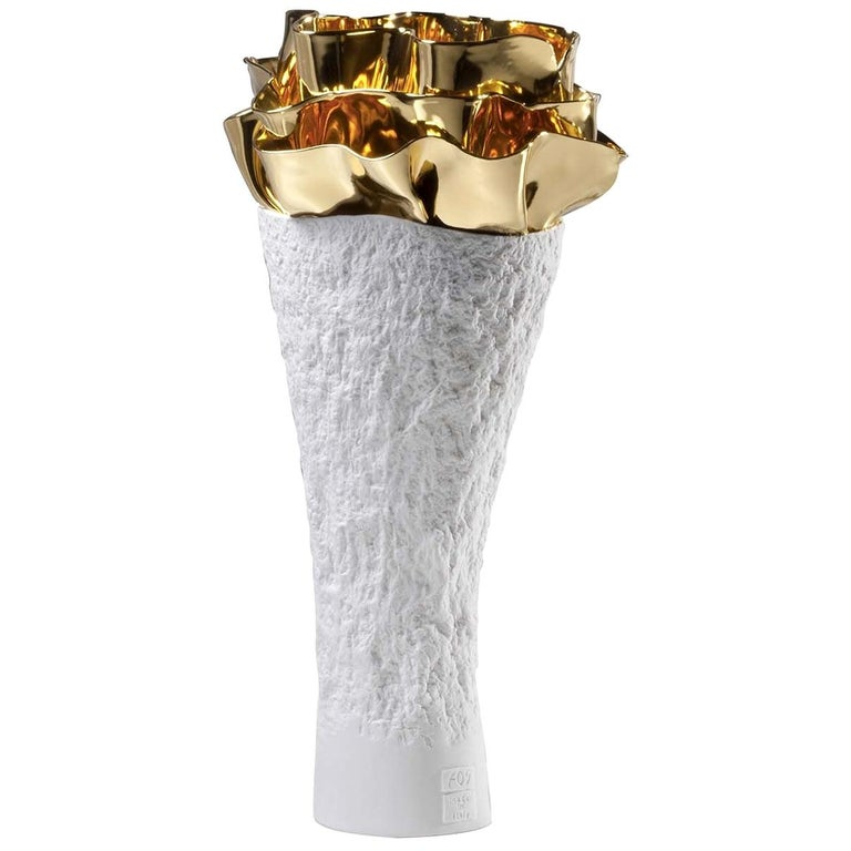 Anthozoa Gold Seaweeds Vase by Fos Ceramiche For Sale