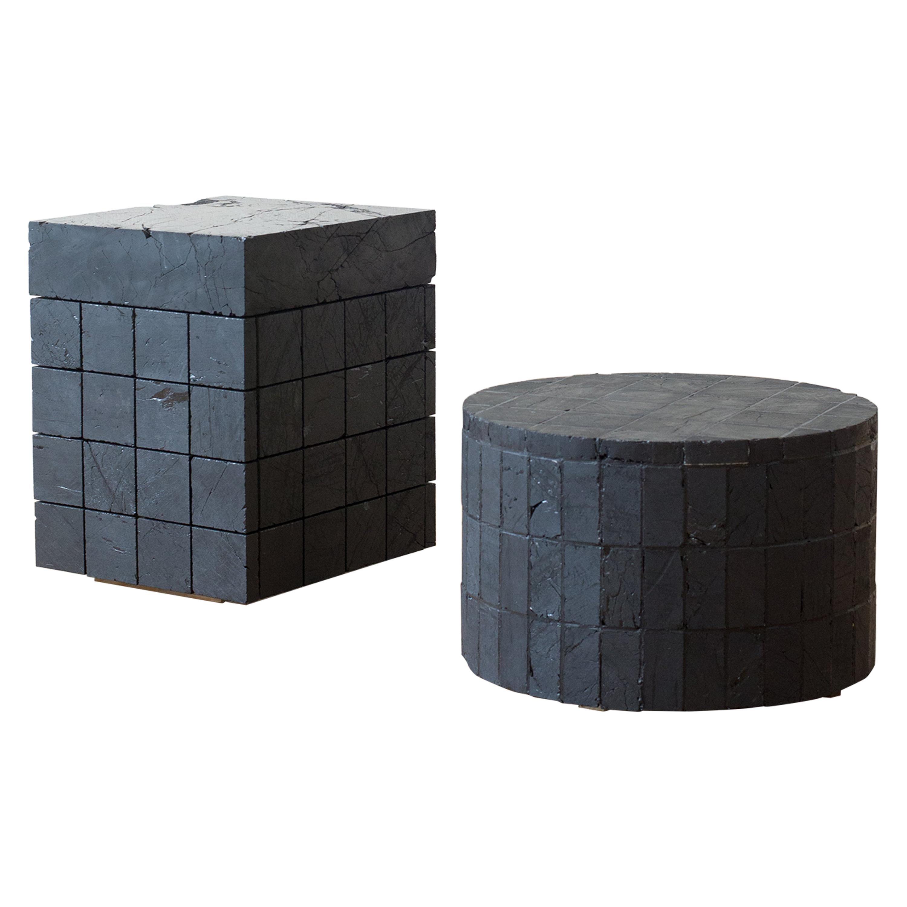 Anthracite Coal Low Table 'round' Contemporary Table by Jesper Eriksson