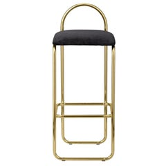 Anthracite Velvet and Gold Minimalist Bar Chair 82.5