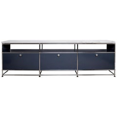 Anthricite Gray and Chrome Sideboard with Marble Top, USM Haller