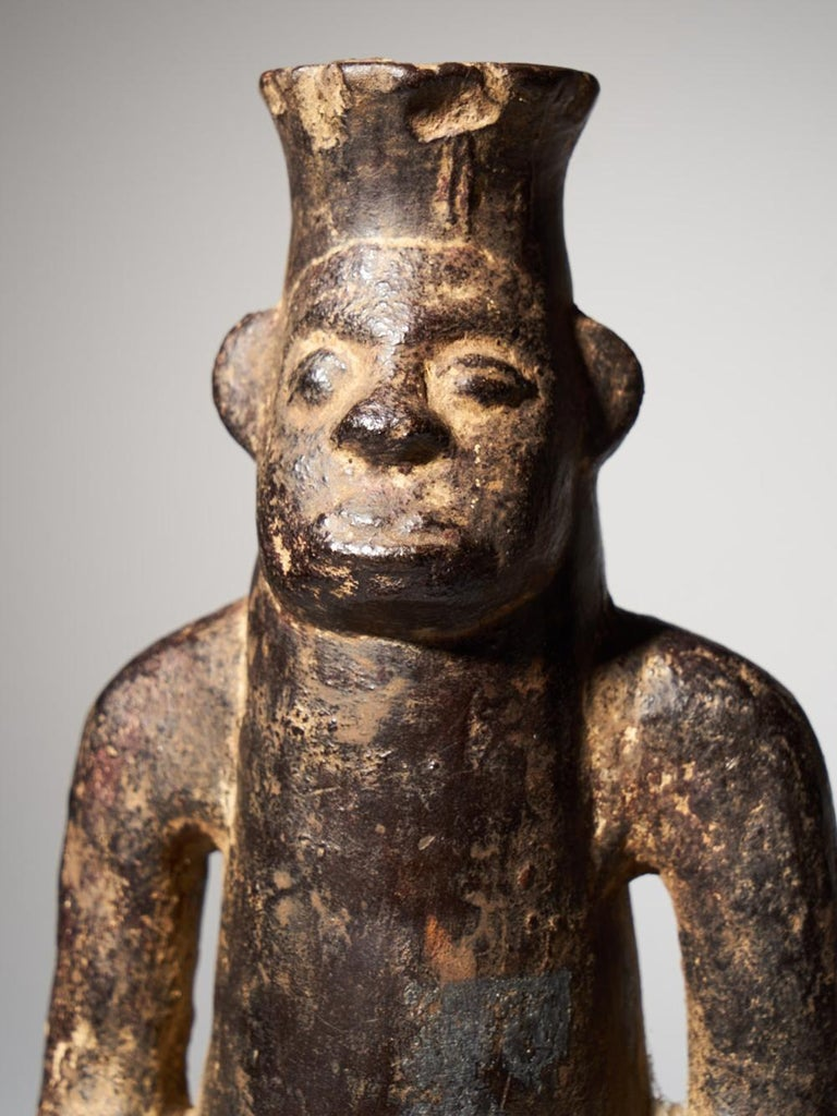 Anthromorphic Figural Vessel in Blackened Terracotta For Sale 1
