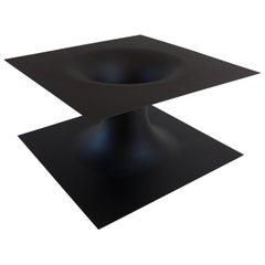Anti-Table in Ultra Matte Black Enameled Spun Steel by Erickson Aesthetics