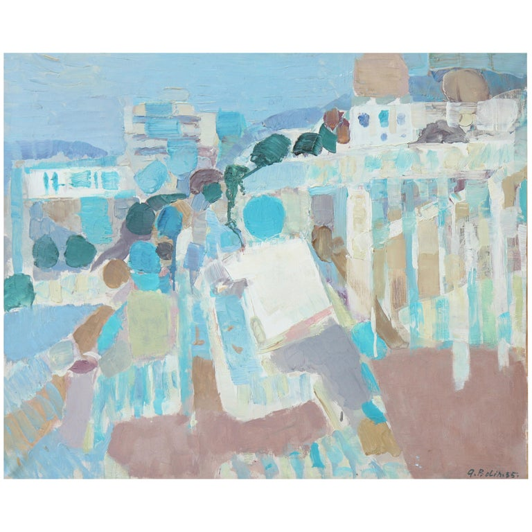 """""""Antibes"""" Oil on Canvas by G. Bolin For Sale"""