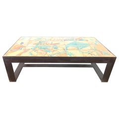 Antica Collection Creation Iron Table with 17th Century Portuguese Tiles Inset