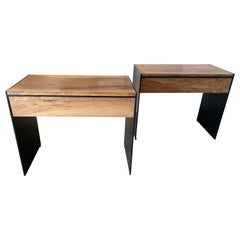 Antica Collection Fabricated Iron and Exotic Wood from Spain Modern Side Tables