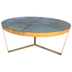 Antica Collection Fabricated Iron Gilt Dining Table with Antique Marble Inset