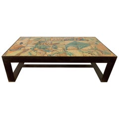 Antica Collection Fabrication Iron Table with 17th Century Portuguese Tiles