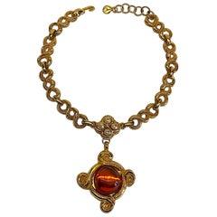 Antigona Paris 1980s Gold Link with Amber Cabochon Pendant Necklace