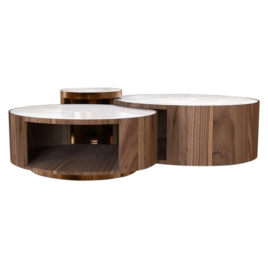 Antigua Center Table in Walnut and Carrara Marble