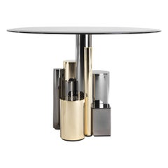Antigua Large Side Table with Metal Base and Bronze Glass Top by Roberto Cavalli