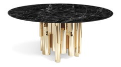 Antigua Dining Table in Metal and Marble Top by Roberto Cavalli Home Interiors