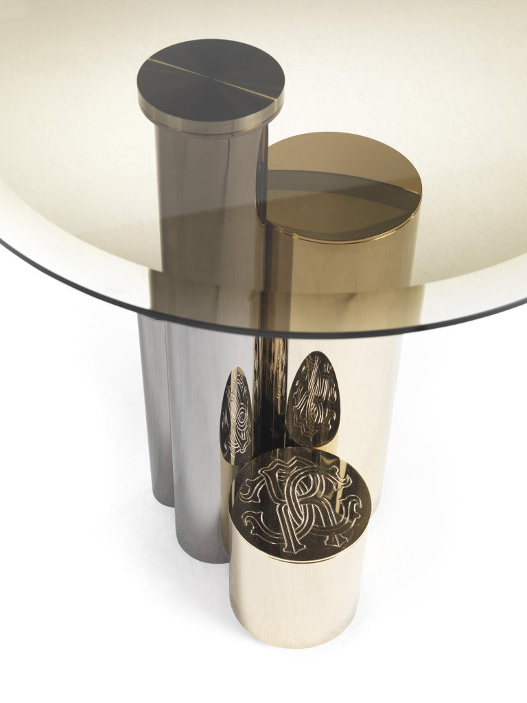 Modern Antigua Small Side Table with Metal Base by Roberto Cavalli Home Interiors For Sale