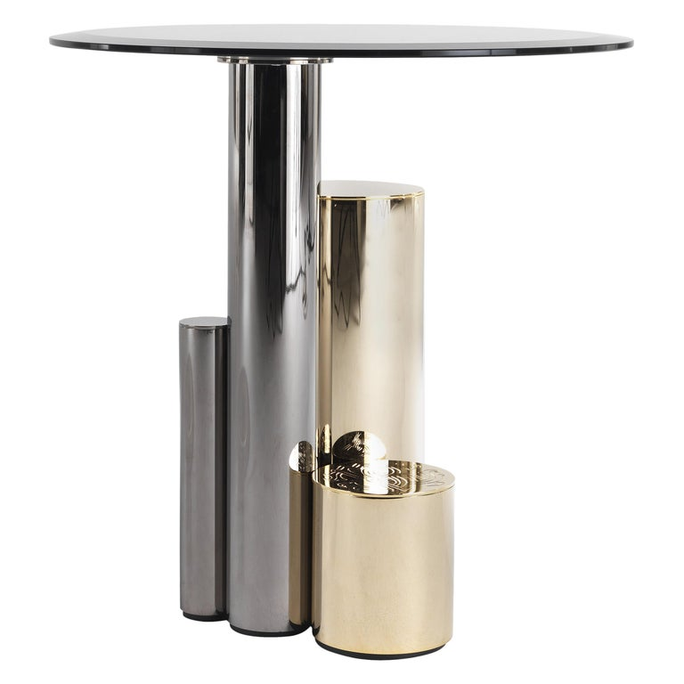 Antigua Small Side Table with Metal Base by Roberto Cavalli Home Interiors For Sale