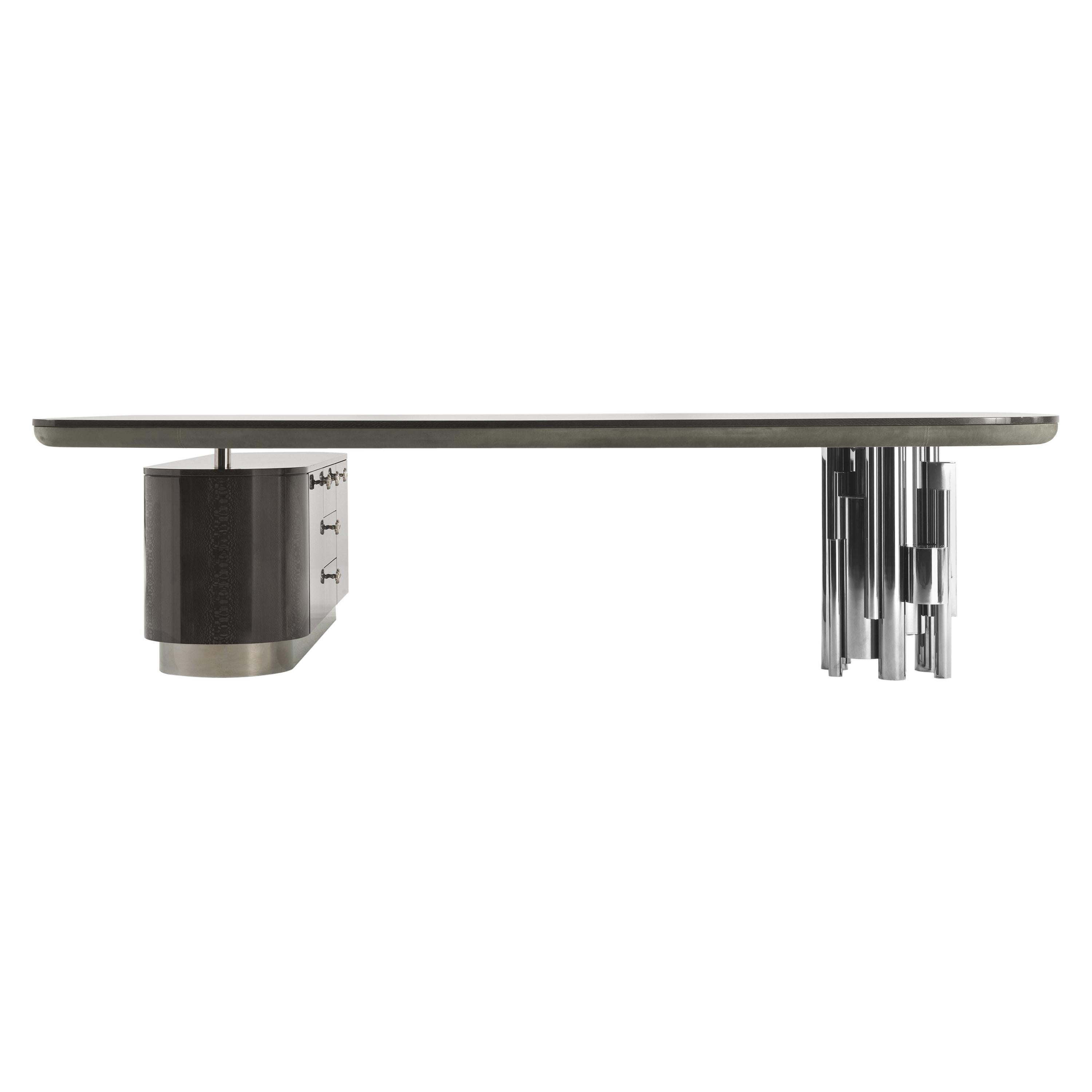 Antigua Writing Desk in Carbalho Grey with Metal Base by Roberto Cavalli