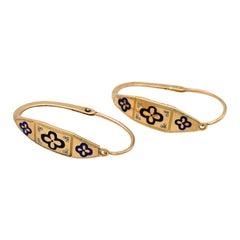 Antique 18 Karat Rosegold Enamel French 1820 Louis 18th Hoop Earrings