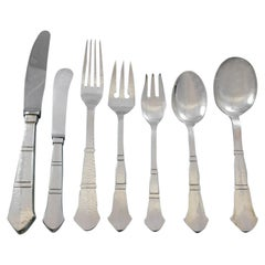 Antik by E. Dragsted Danish Sterling Silver Flatware Set Service Mid-Century Mod