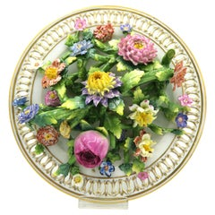 Antik Meissen 3d Porcelain Flowers and Garland Plate with Trom-Iʻoeil Effect
