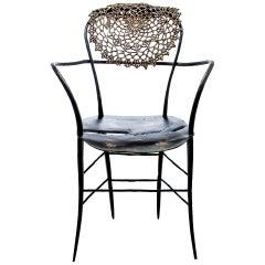 Antimacassar III Chair in Cast Bronze and Crochet Doily