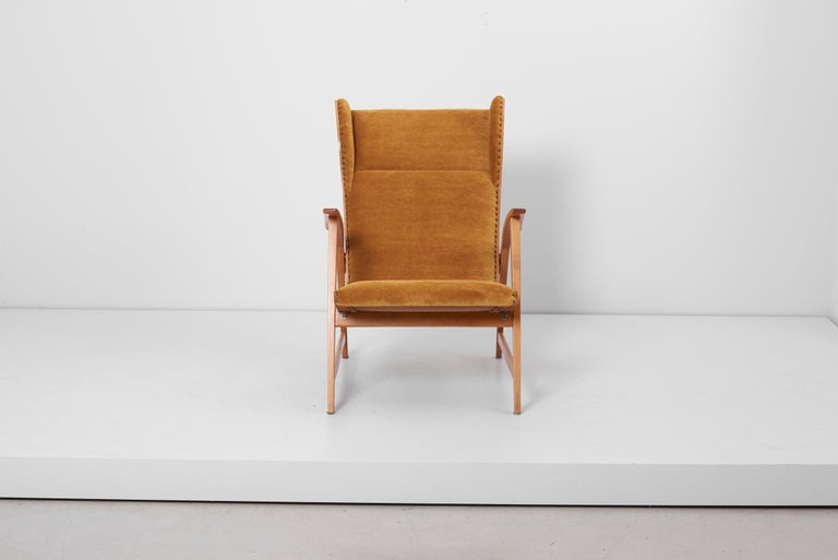 Mid-Century Modern Antimott Lounge Chair by Wilhelm Knoll in Mohair Fabric, Germany, 1950s For Sale
