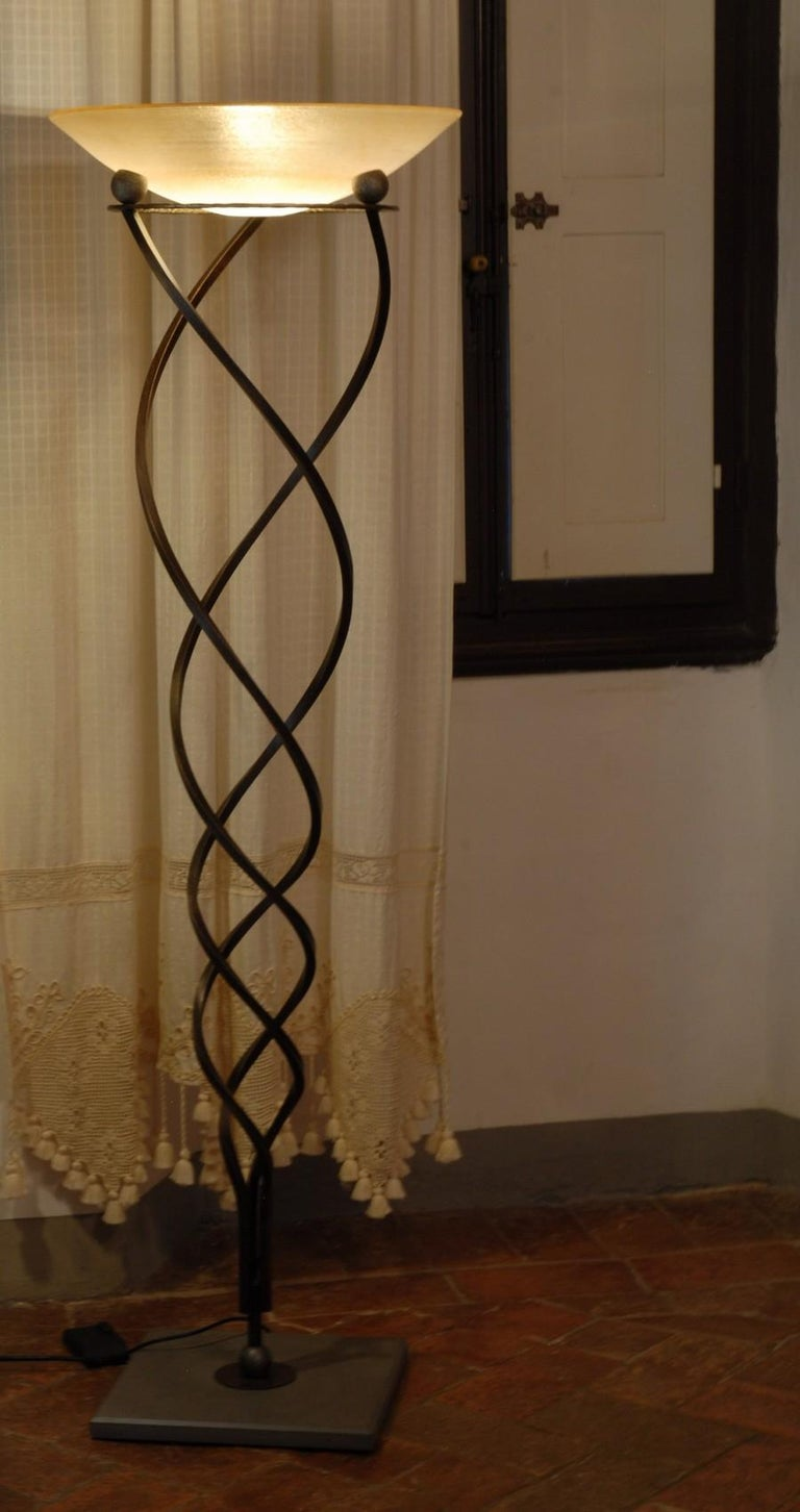 Antinea Torchere Terzani Crochet Design Forged Iron Stone