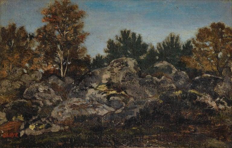Antoine-Louis Barye Landscape Painting - Le Jean de Paris, forêt de Fontainebleau