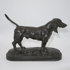 French Animalier bronze of a Standing Basset Hound by Antoine-Louis Barye